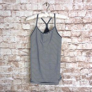 Nike Dri Fit Black White Stripe Slim Fit Tank Top